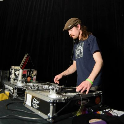 DJ with turntables