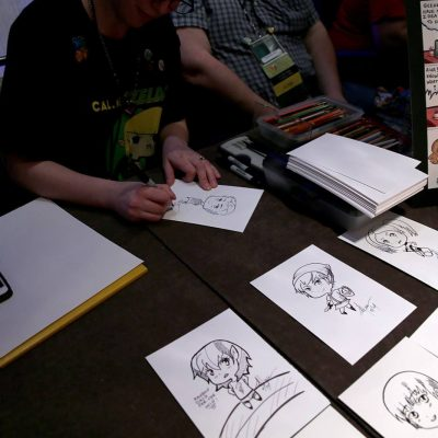Caricatures, one in process