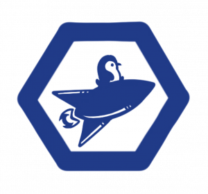 Penguicon track logo of penguin on spaceship